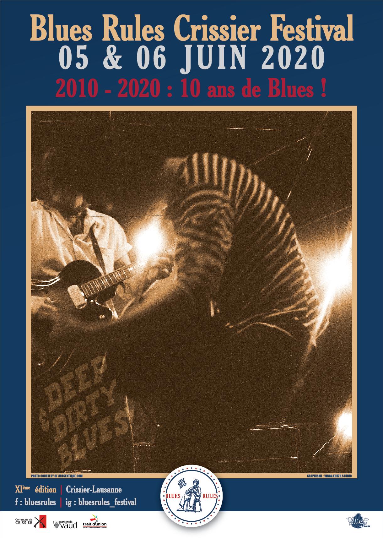 affiche du Blues Rules Crissier Festival 2020