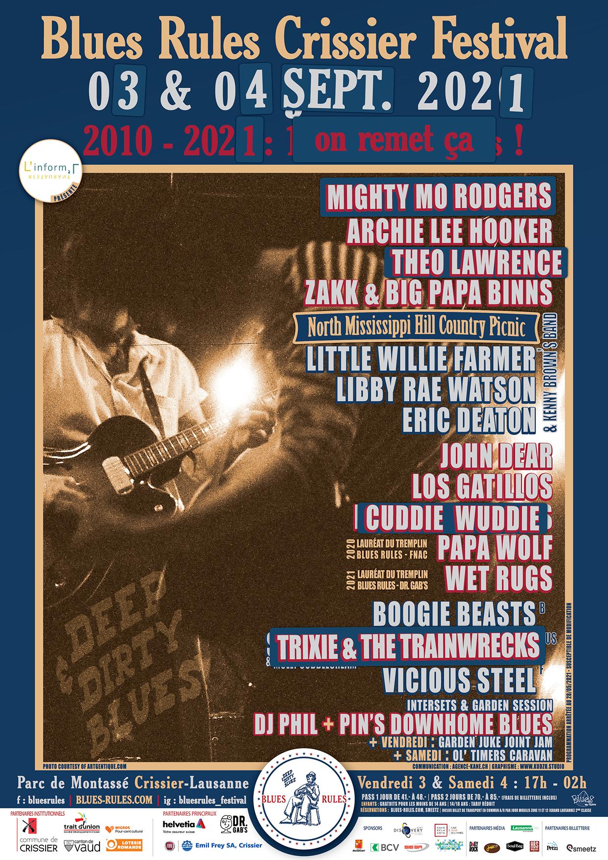 billetterie 2021 Affiche Blues Rules Crissier Festival